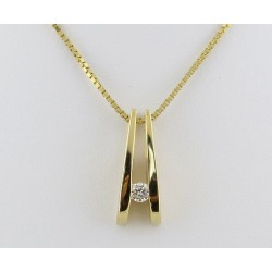 Diamond Set in Gold Fork Pendant